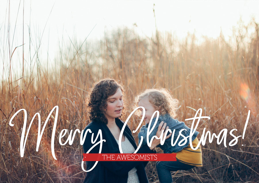 Free - One large photo - Christmas Card PSD Template